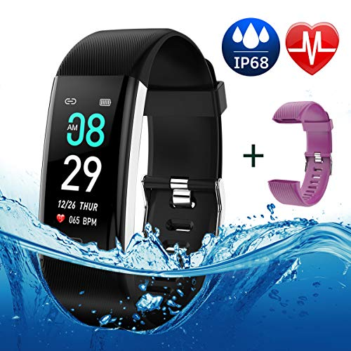 Fitness Tracker Color Screen, IP68 Waterproof Activity Tracker Smart Watch Remote Photography Heart Rate Blood Pressure Blood Oxygen Monitor Step Calorie Counter Pedometer for Women Men Kids