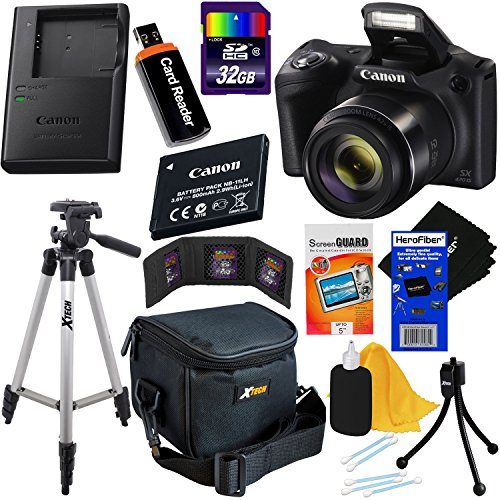 Canon Powershot SX420 IS 20 MP Wi-Fi Digital Camera with 42x Zoom + NB-11L Battery & AC/DC Battery Charger + 9pc 32GB Deluxe Accessory Kit w/ HeroFiber Ultra Gentle Cloth