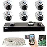 GW Security 8 Channel 4K NVR 5 Megapixel H.265 Security Camera System, 6 Built-in Microphone Audio Recording HD 1920P IP PoE Dome Cameras, QR-Code Connection