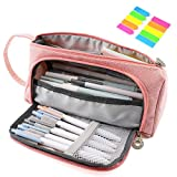 Pencil Case, Yloves Big Capacity Pen Pencil Bag Pouch Box Organizer Holder for School Office Supplies with 2 PCS Index Tabs (Pink)