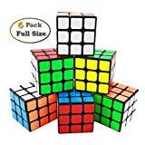 INTEGEAR 6 Pack Full Size Magic Speed Cube 3x3x3 Easy Turning and Smooth Play Puzzle Cube Bulk 56mm Educational Toys for All Age Kids and Adults