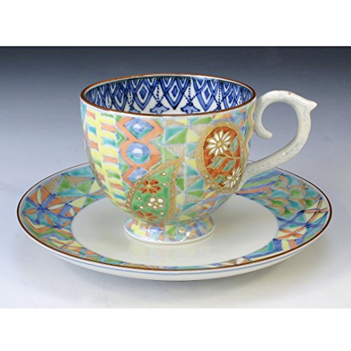 Kiyomizu-kyo yaki ware. Coffee teacup and saucer peizury with paper box. Porcelain. kymz-CCP508