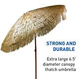 6.5ft Outdoor Beach Umbrella Hula Thatched Tiki Umbrella Tropical Hawaiian Patio Straw Umbrella Raffia Umbrella with 8 Ribs, Press Button Tilt Natural Color (6.5 FT, Tiki Natural)