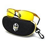 BLUPOND Night Driving Glasses - Semi Polarized Yellow Tint HD Vision Anti Glare Lens - Unbreakable Metal Frame with Car Clip Holder - Knight Visor (Gold)