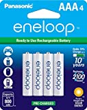 Panasonic BK-4MCCA4BA eneloop AAA 2100 Cycle Ni-MH Pre-Charged Rechargeable Batteries, 4 Pack
