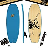 Gold Coast Surfboards - 5' Hybrid Soft Top Wake Surfboard -BIG BETSY-No Wax Needed Foam Surfboard Texture Deck, Rubber Logo, & GoPro Mount + BAMBOO Bottom Deck with FCSII Fin Boxes PKG