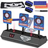 Vimpro Electric Scoring Target, Electric Scoring Auto Reset Shooting Digital Target for Nerf Guns Blaster Elite/Mega/Rival Series with 40 Pcs Refill Darts 2 Hand Wrist Bands and 1 Skull Mask