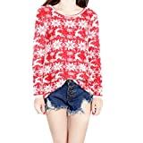 Taiduosheng Women's Ugly Christmas Sweater Patterns Snowflakes Jumper Pullover Of Christmas Cardigan Red