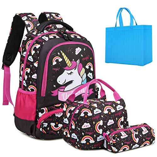 Girls School Backpack Unicorn Backpack for Girls Elementary School Bookbags for Kids Water Resistant School Bag with Lunch Tote Bag Pencil Purse Bag 3 in 1 Sets Black