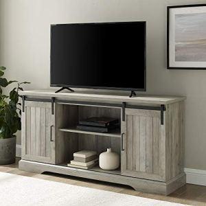 Walker Edison Dover Modern Farmhouse Sliding Grooved Door Storage TV Console , 58 Inch, Grey Wash