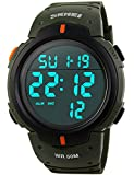 PASOY Men Women Digital Watch Big Dial Light LED Swim Waterproof Rubber Band Alarm Black LED Watches 50MM (Green)