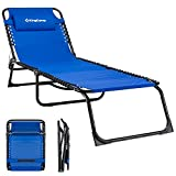KingCamp Patio Lounge Chair Chaise Bed Folding Camping Cot 3 Adjustable Reclining Positions with Removable Pillow for Pool Garden Yard Outdoor