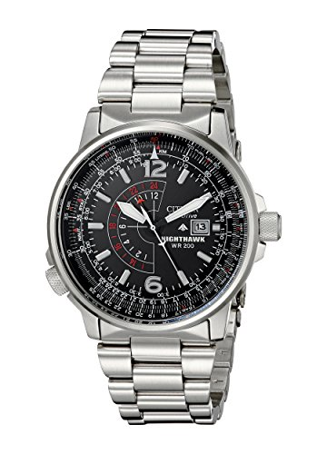 519gguCp%2B8L Stainless steel watch featuring date window at three o'clock position, dual-time display, and pilot's slide rule inner chapter ring operated by crown at 8 o'clock position 42 millimeters stainless steel case with mineral dial window Japanese quartz movement with analog display