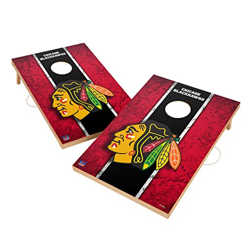 Victory Tailgate Chicago Blackhawks NHL Solid Wood 2x3 Vintage Cornhole Game Set - 2 Boards, 8 Bags