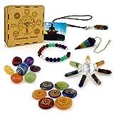 Premium Natural Healing Crystals 7 Chakra Kit 18piece - Engraved Stones, Tumbled Set, Bracelet, Pendant Necklace, Pendulum, Pyramid Energy Generator in Tree of Life Wooden Gift Box + E-Book