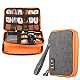 Electronics Accessories Organizer,Double Layer Waterproof Cable Organizer Bag,Multifunction Travel Gadget Bag Storage Cables, USB Flash Drive,iPad Mini and More