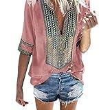 Sunhusing Women's Deep V-Neck Bohemian Print Half Sleeve Tops Casual Beach Wind T-Shirt Pink