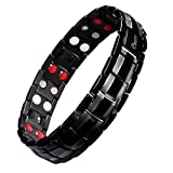 Mens Titanium Magnetic Therapy Bracelet Double Row 4 Element Pain Relief for Arthritis and Carpal Tunnel