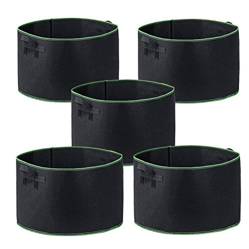 Garden4Ever Grow Bags 5-Pack 20 Gallon Aeration Fabric Pots Container with Handles