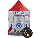 Space Adventure Roarin' Rocket Play Tent with Milky Way Storage Bag - Indoor/Outdoor Children's Astronaut Spaceship Playhouse, Great for Ball Pit Balls and Pretend Play by Imagination Generation