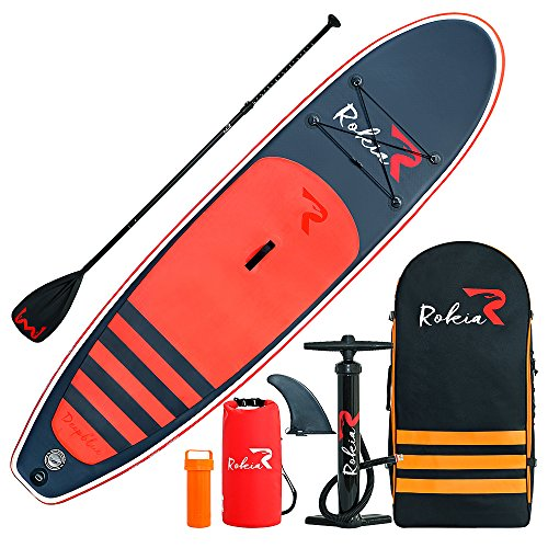 """Rokia R 10'6"""" Inflatable SUP Stand Up Paddle Board (6"""" Thick) iSUP for Fitness, Yoga, Fishing on Flat Water, Orange"""