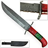 Copperhead Snakebite Master Trail Bowie Damascus Hunting Knife Custom Hand Forged