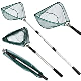Yaheetech Portable Collapsible/Folding Fishing/Landing Nets with Aluminum Telescopic/Telescoping/Extendable/Extending/Long Handle/Pole for Aquarium Lakes Ponds Saltwater & Fly Fish Kayak Boat