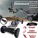 SuperbProductions 31MPH Off Road Electric Skateboard – Motorized Mountain Longboard with Dual Motors - 11 Layers Canadian Maple, All-Terrain, 4 Wheels, Remote Controlled High Speed Board