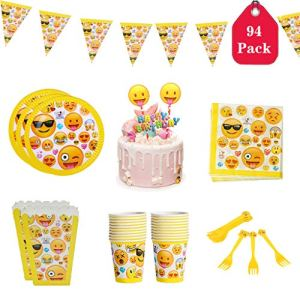 Amycute 94 Pcs Emoticon Themed Birthday Party Tableware – Serves 20, Including Disposable Plates, Cups, Napkins, Forks, Cake Topper, Popcorn Box and Bunting Banner 519oDAHDvNL
