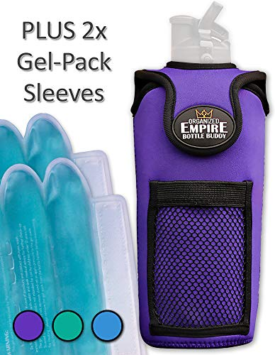 Organized Empire Insulated Water Bottle Holder with Shoulder Strap Sling + 2 Freezable & Microwave Gel-Pack Sleeves for hot/Cold Use as Breastmilk Cooler Bag, Portable Bottle Warmer or Drink Carrier