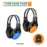 2 Pack of Car Headphones with 3 Levels Volume Limited, Infrared Wireless Headphones for Car DVD/TV, Dual Channel Kids Wireless Headsets for Car DVD Player, Blue and Orange