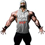 Gerlobal Mens Bodybuilding Stringer Hoodie Workout Fitness Gym Tank Top Grey,Medium
