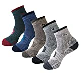 5pack Men's Full Cushion Mid Quarter Length Hiking Socks 5Pair Color Assortment Large