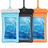 [Floatable] Waterproof Phone Pouch, 3 Pack Cambond Universal Floating Water Proof Cell Phone Case Transparent PVC Dry Bag with Durable Lanyard for iPhone Galaxy Pixel up to 6.5', Blue Orange Black