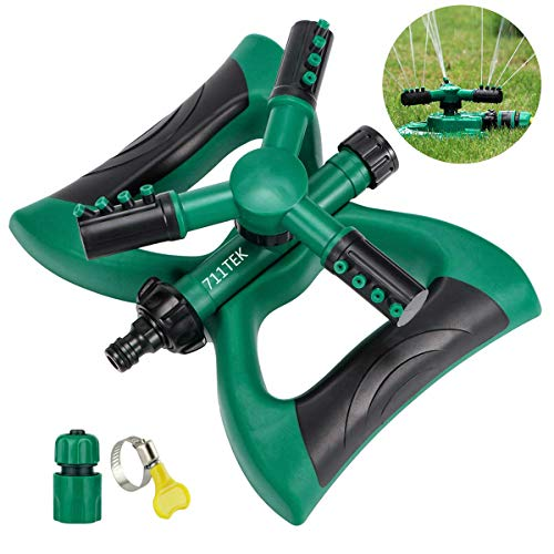 711TEK Garden Sprinkler Automatic Lawn Sprinkler Water Sprinkler Lawn Irrigation System 360 Degree Rotating Adjustable Oscillating Sprinkler for Garden Lawn Yard Kids