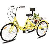 YiiYYaa Adult Tricycle Trike Cruise Bike, 24 Inch Wheel Single Speed 3 Wheeled Bicycle with Large Size Basket for Recreation, Shopping, Exercise (Yellow)