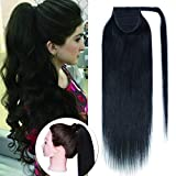 Wrap Around Ponytail Hair Extensions Human Hair Long Straight 100% Real Remy Hair Pony Tails Hair Extensions For Women #1B Natual Black 20 inches 95g