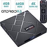pendoo Android 9.0 TV Box 4GB RAM 64GB ROM, X10 MAX Android TV Box Amlogic S905X2 Quad-Core 64Bits Dual WiFi 2.4G/5G Bluetooth 3D 4K Ultra HD H.265 USB 3.0 Android Box