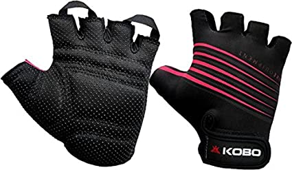 Kobo Women's Exercise Weight Lifting Grippy Hand Protector Padded Gym and Fitness Gloves
