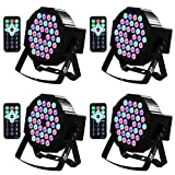 DJ Lights, Missyee 36 X 1W RGB LEDs Sound Activated Stage Lights Package with Remote Control Compatible with DMX Controller, 9 Modes LED DJ Lights for Wedding Birthday Party Club (4 Pack)