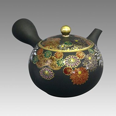 TOKYO MATCHA SELECTION - Tokoname Kyusu teapot - SHOHO - Chrysanthemum 200cc/ml - ceramic fine mesh [Standard ship by EMS: with Tracking & Insurance]