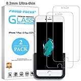 iPhone 7 Plus 8 Plus Screen Protector, Glass Screen Protector for Apple iPhone 8 Plus iPhone 7 Plus [0.2mm Ultra-thin] [Easy-applied Fixture] [10H Hardness HD Clear] Proud-Focus Screen Protector 2PACK