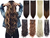 7Pcs 16 Clips 23-24 Inch Thick Curly Straight Clip in on Double Weft Hair Extensions