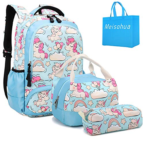 Girls School Backpacks Unicorn Kids Bookbags Set Teens Students School Bag and Lunch Tote Bag Pencil Case (Sky Blue)
