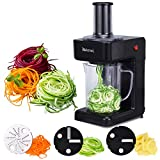 Electric Spiralizer - Beionxii 3-in-1 Vegetable and Zoodler Spiralizer Slicer Veggie Pasta and Zoodle Maker with 3 Blades Vegetarian Ideal For Low Carb Paleo Vegan Gluten-Free Meals 1.2 Liter