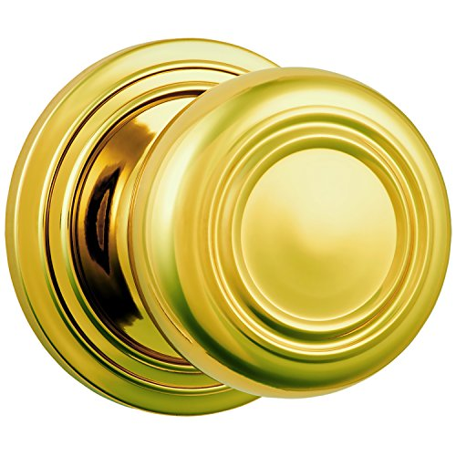 Brinks Push Pull Rotate Door Locks Webley Passage Knob, Polished Brass, 23044-105
