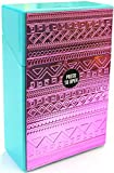 Eclipse Pretty Metallic Chrome Raised Design Crushproof Cigarette Case, Kings, 3116M28 (Pink Aztec)