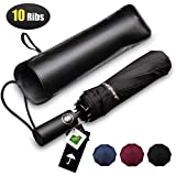 Bodyguard Travel Umbrella, 10 Ribs Finest Windproof Umbrella with Teflon Coating, Auto Open Close and Upgraded Comfort Handle - Gift Leather Cover