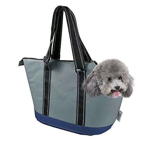 Portable Small Pet Dog Puppy Cat Travel Outdoor Carrier Carry Tote Bag (Dark Grey) - Go Shopping, Hiking, Walking, with Doggy