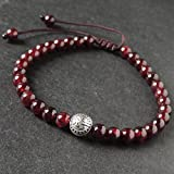 Healing Garnet Gemstones Tibetan Silver Pingan Security, Protection Bead Handmade Adjustable Braided Drawstring Bracelet with 5.5mm Beads, FREE Gift Box
